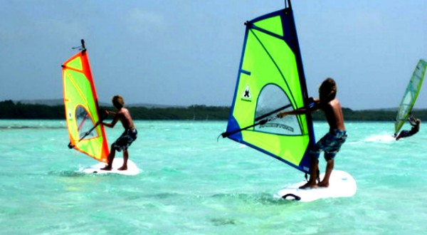 kids windsurfing in Lac Bay - family vacation bonaire