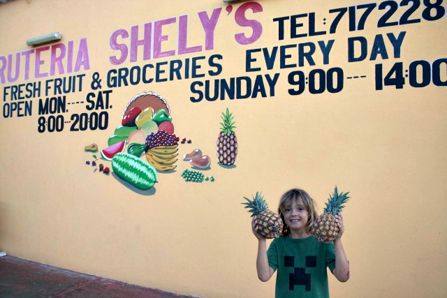 grocery shopping on Bonaire - fresh fruit and pineapples at local fruit market bonaire