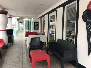outdoor seating at gio's gelateria in downtown Kralendijk bonaire