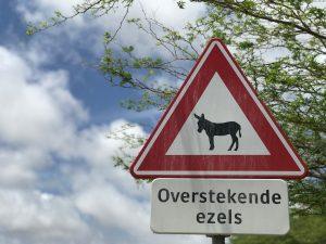 donkey crossing sign on bonaire