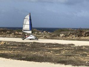 child land sailing on the course at bonaire blokart