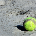 tennis ball on the beach at beach tennis tournament