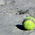 tennis ball on the beach at beach tennis tournament